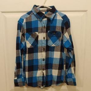Faded Glory blue long sleeve flannel button up